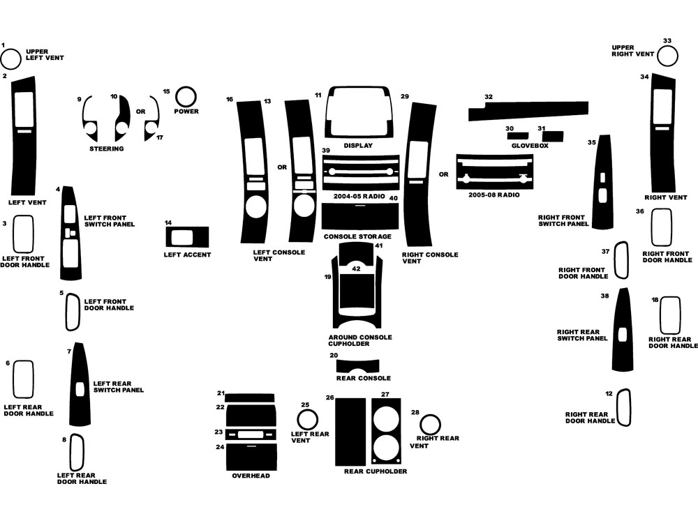 Toyota Prius 2004-2009 Dash Kit Diagram
