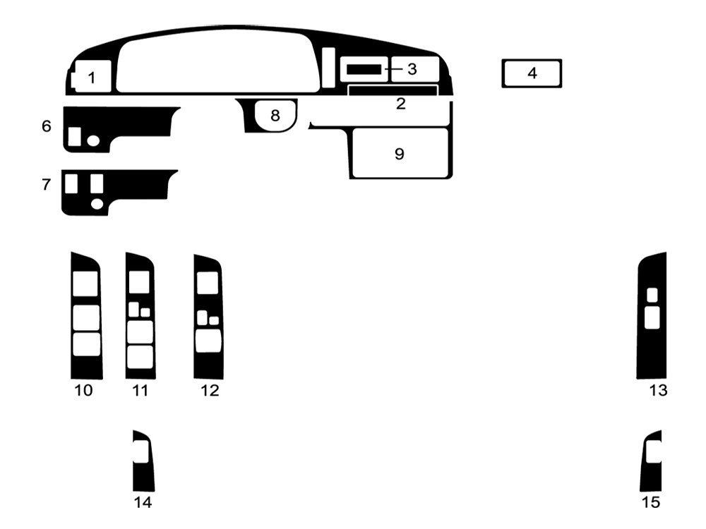 Toyota Pick Up 1990-1995 Dash Kit Diagram