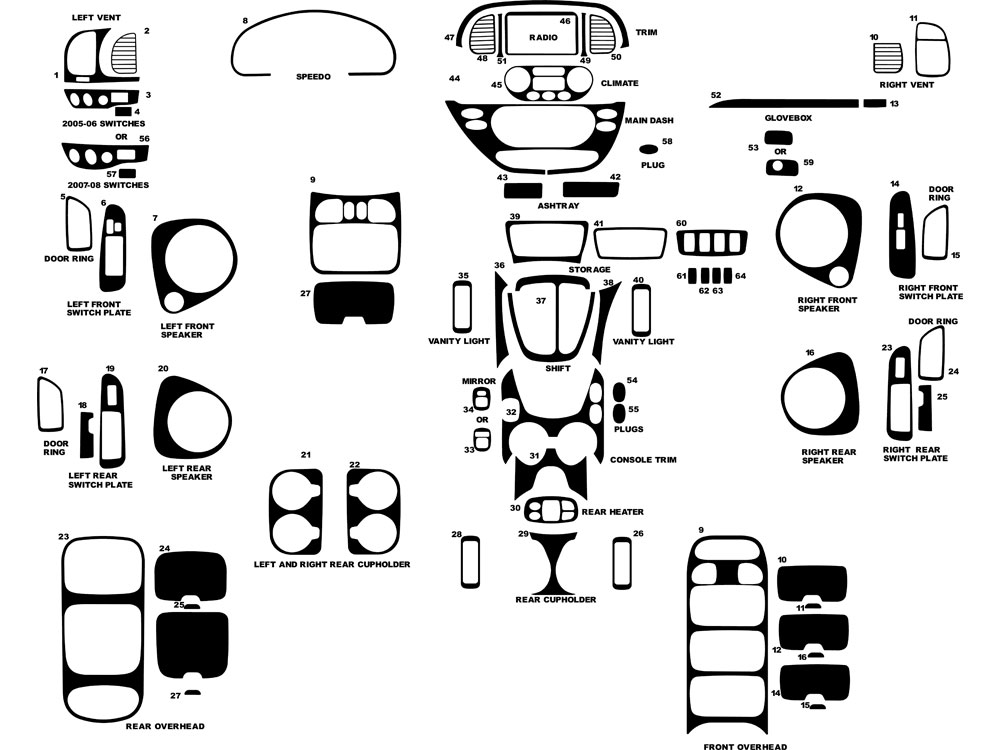 Toyota Sequoia 2001 2007 Dash Kits