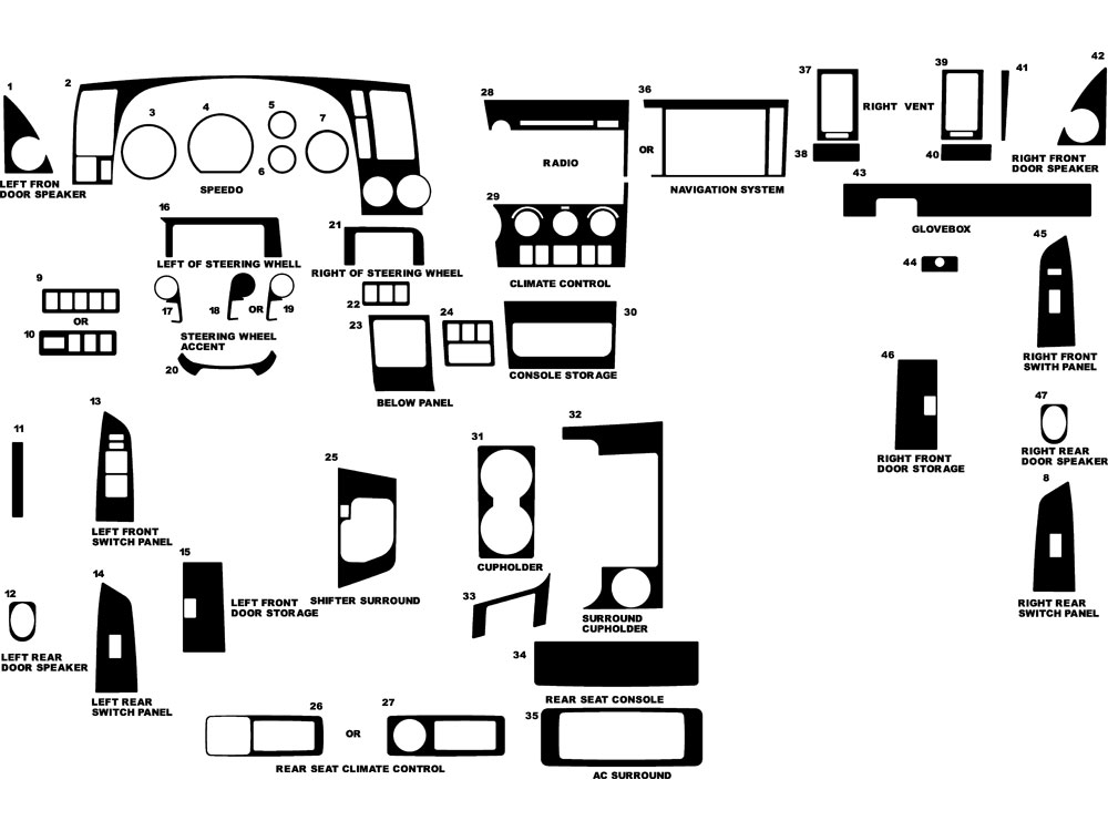 Toyota Sequoia 2008-2013 Dash Kit Diagram