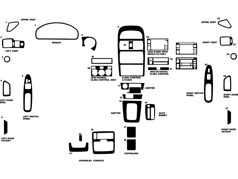 Toyota Solara 1999-2003 Dash Kit Diagram