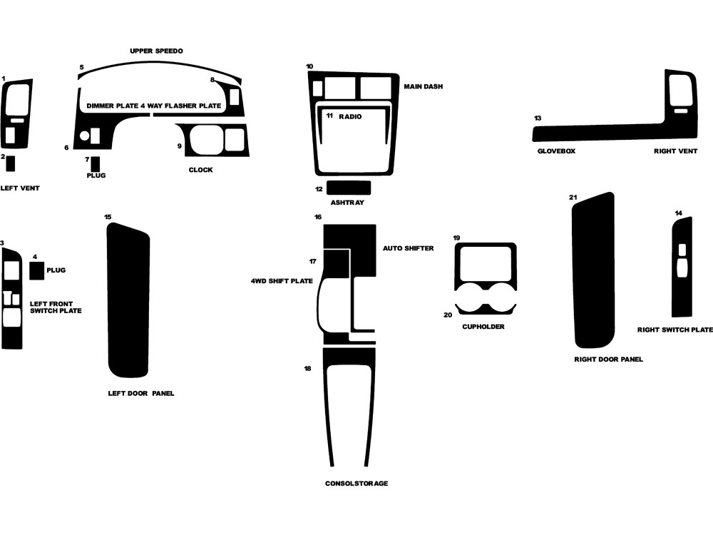 Toyota Tacoma 1995-1997 Dash Kit Diagram