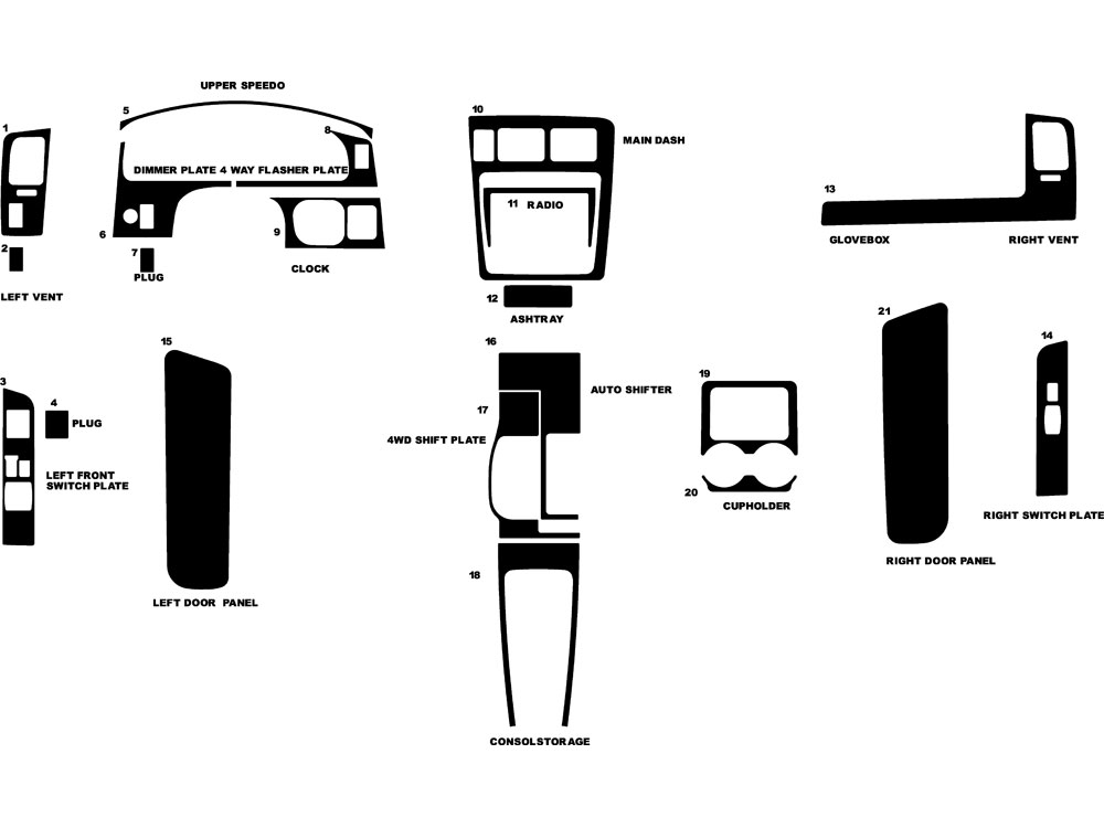Toyota Tacoma 1998-2000 Dash Kit Diagram