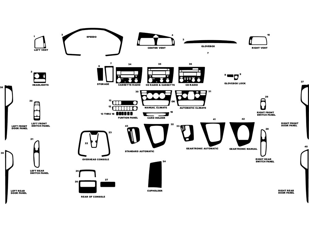 Volvo S60 2001-2004 Dash Kit Diagram