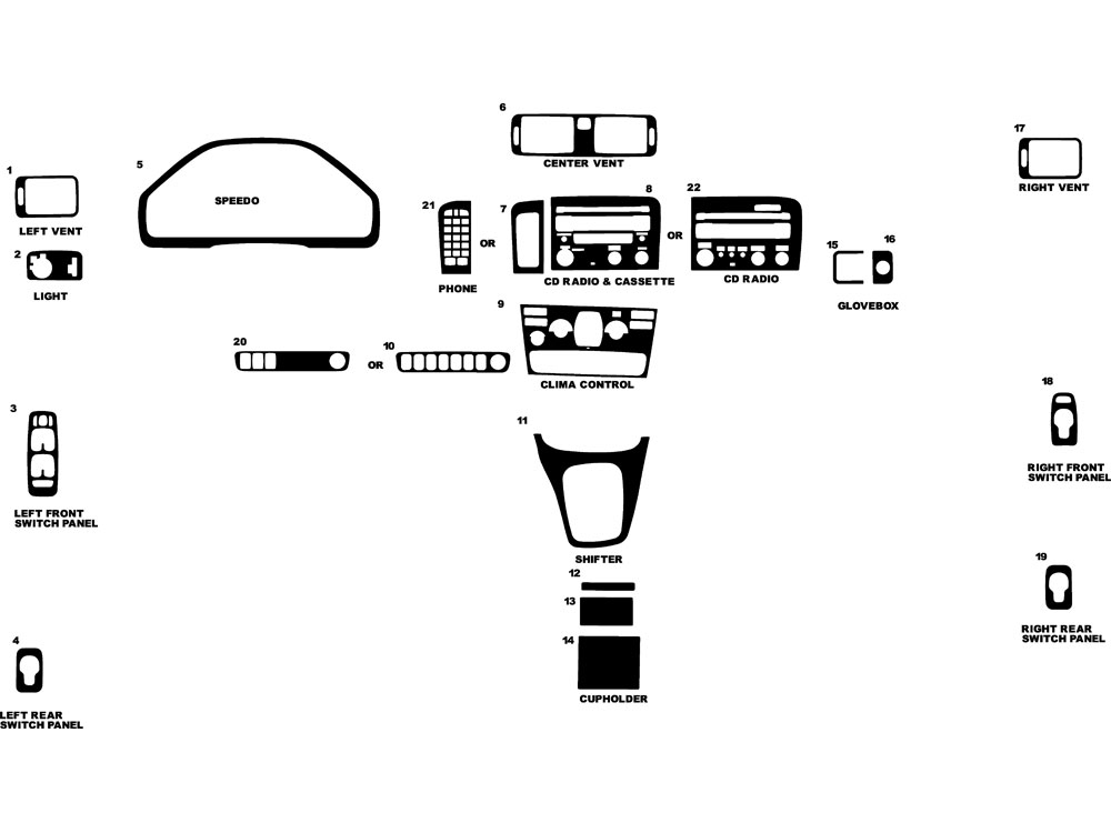 Volvo S80 2005-2006 Dash Kit Diagram