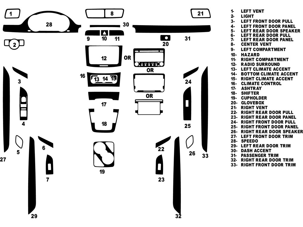 Volkswagen CC 2009-2011 Dash Kit Diagram