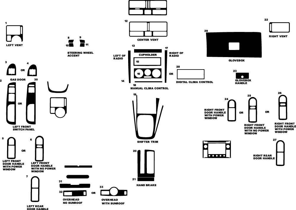 Volkswagen Jetta 1999-2005 Dash Kit Diagram
