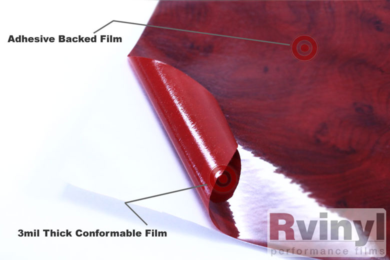 Dark Burlwood Wood Grain Vinyl Film Wrap Sheet With Embossed Finish