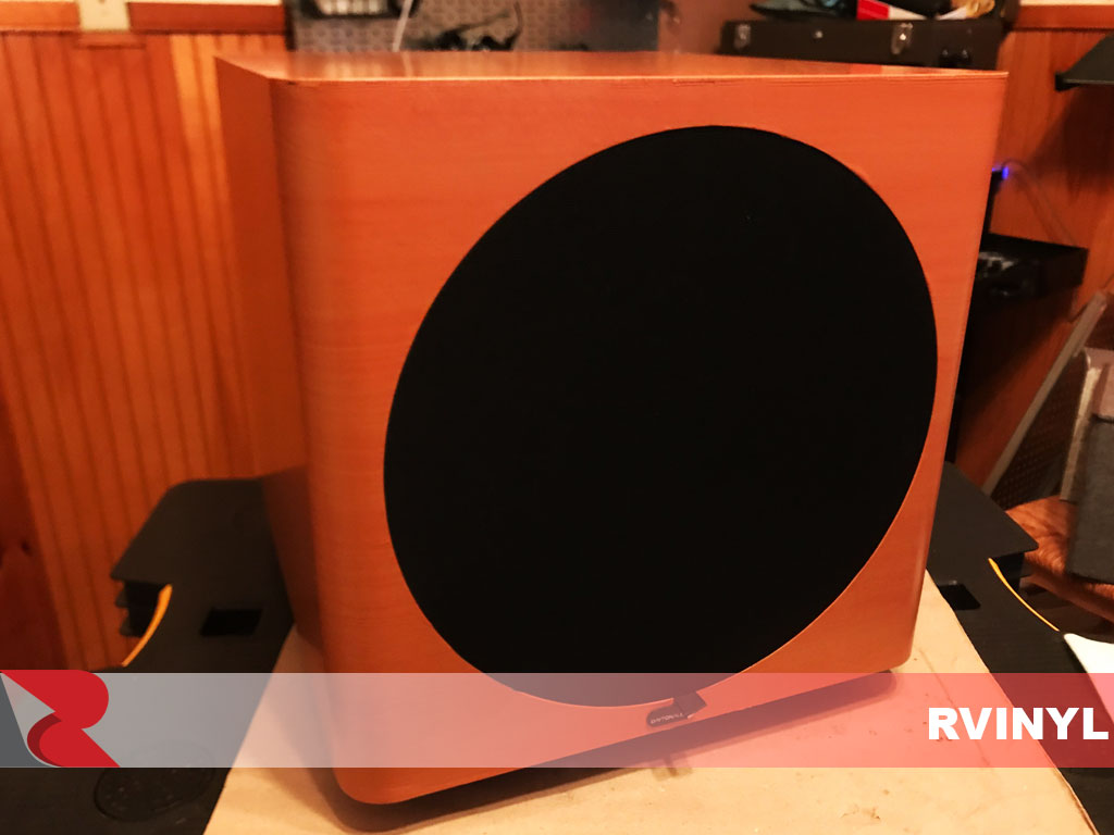 DIY Cherry Woodgrain Vinyl Speaker Box Wrap