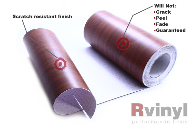 Red Oak Wood Grain Vinyl Film With Durable Surface
