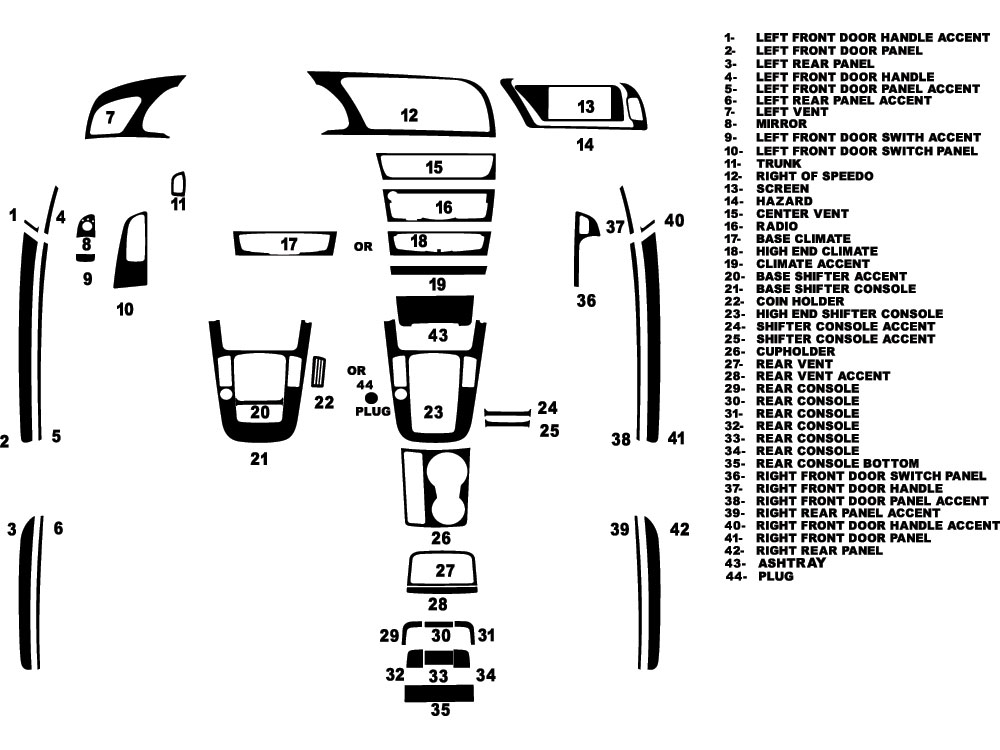 Audi S5 2010-2021 Dash Kit Diagram