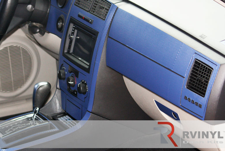 Dodge Charger 2006 Blue Carbon Fiber Dash Kit