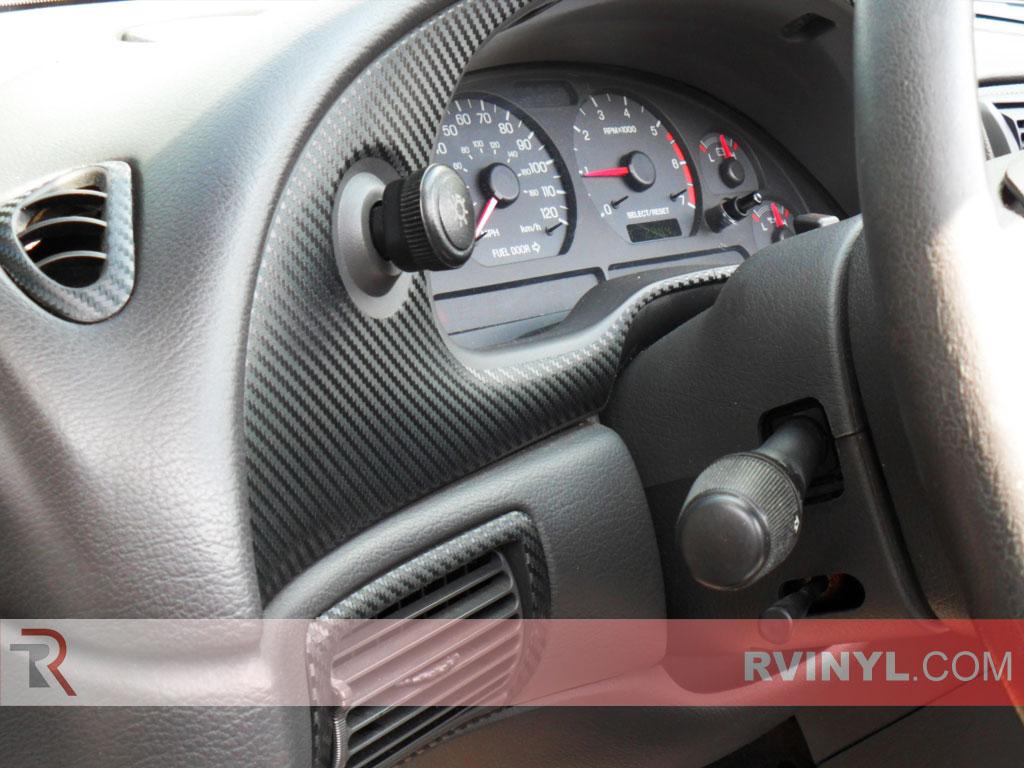 Rvinyl Rdash Dash Kit Decal Trim for Ford Mustang 2001-2004 Aluminum Brushed Black