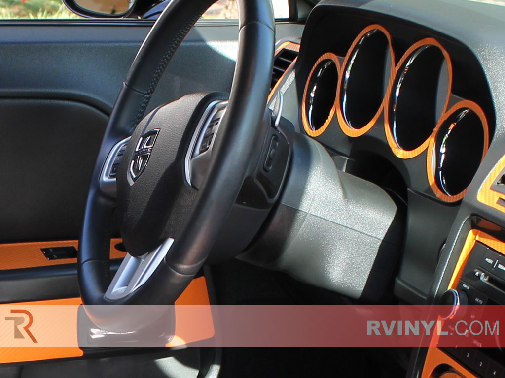rdash 2008 2014 dodge challenger orange carbon fiber dash kits