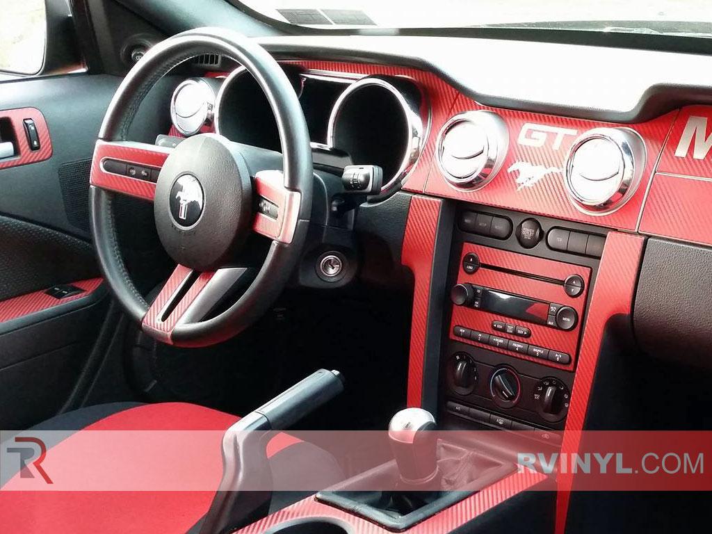 Red Carbon Fiber Mustang Dash Kit