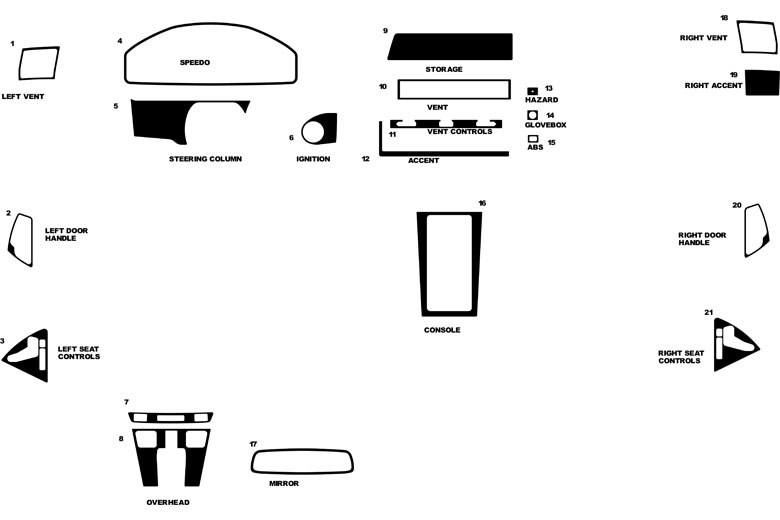Mercedes SL-Class 1991 - 2002 Dash Kit Diagram