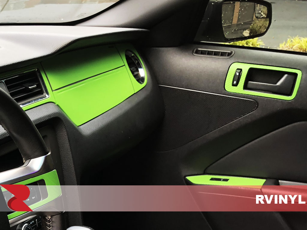 Rdash 2013 Ford Mustang passenger door with Green 3D Carbon Fiber