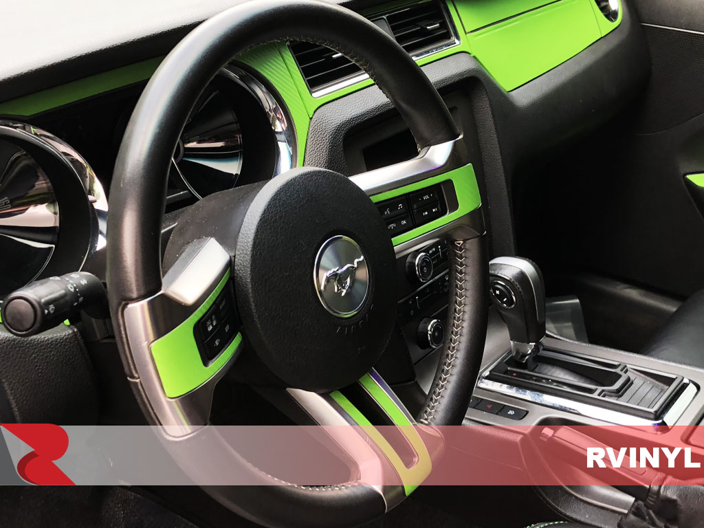 Rdash 2013 Ford Mustang steering wheel with Green 3D Carbon Fiber