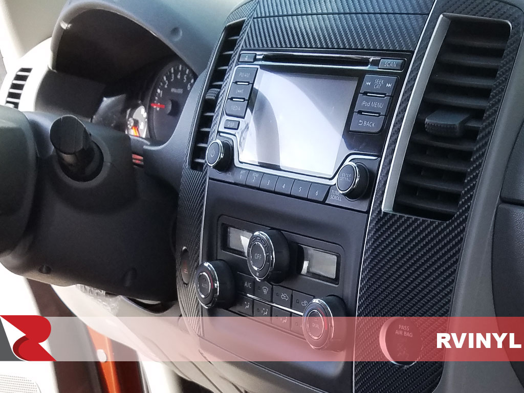 Rdash 2013 Nissan Frontier Center Console Side View with Carbon Fiber 3D Black Dash Kit
