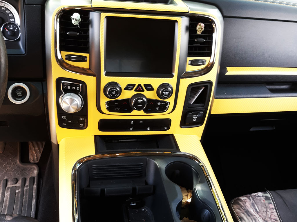 Rdash Rdash™ Ram 1500 Center Console Dash Trim With 3D Carbon Fiber Yellow