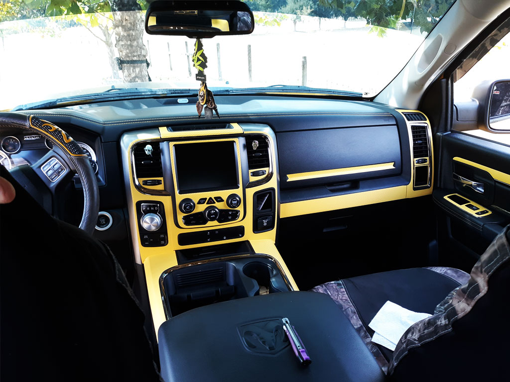 Rdash Rdash™ Ram 1500 Center Console Dash Kit With 3D Carbon Fiber Yellow