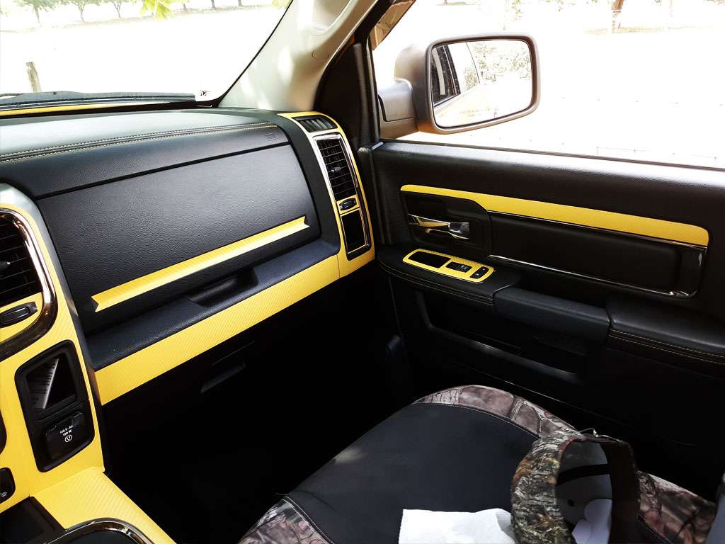 Rdash Rdash™ Ram 1500 Passenger Dash Trim With 3D Carbon Fiber Yellow