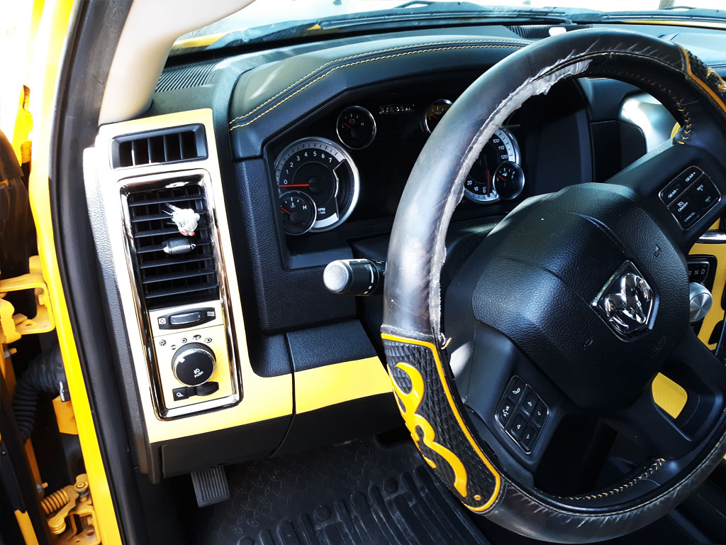Rdash Rdash™ Ram 1500 Steering Dash Trim With 3D Carbon Fiber Yellow