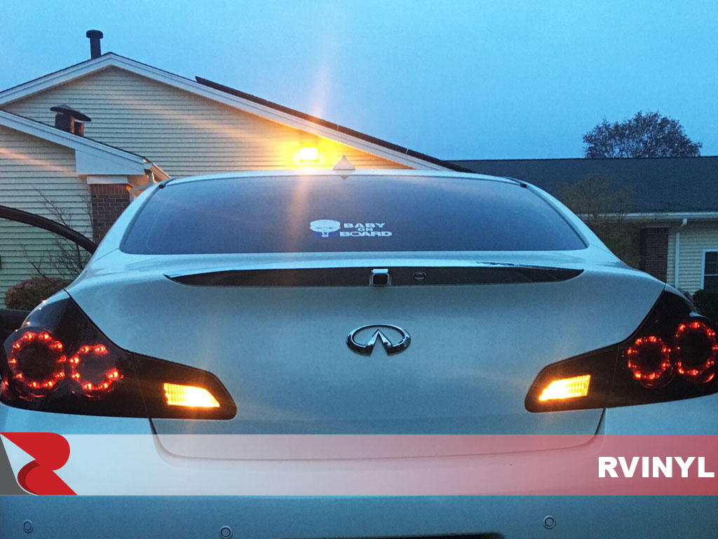 G35 coupe precut Smoked Tail light /& 3rd brake light overlays dark smoke tint