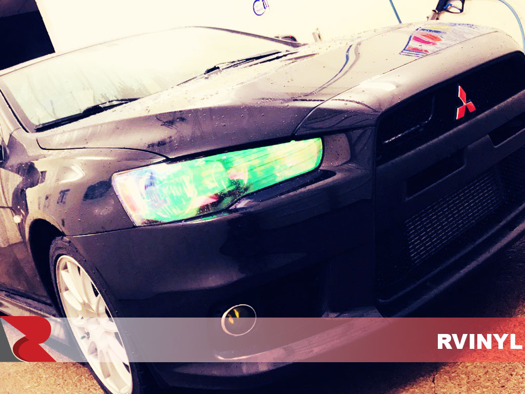 Rtint™ Mitsubishi Lancer Evo with Chameleon Headlight Tints Close-Up