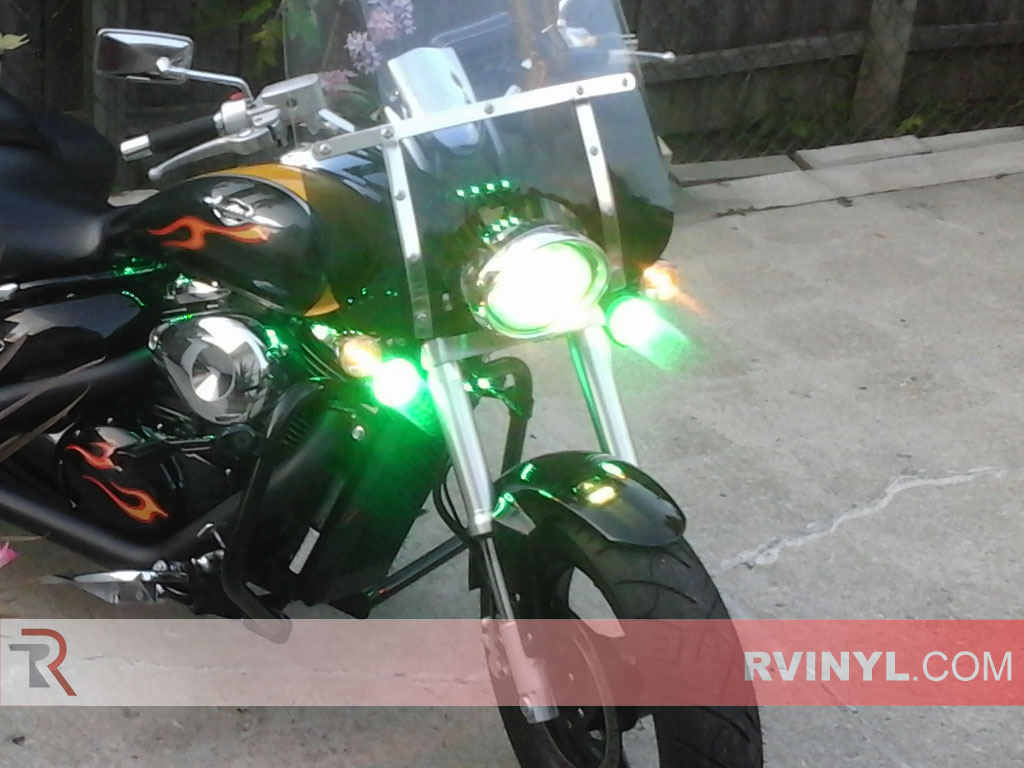 Motorcycle Green Smoke Rtint� Headlight Wrap with Lights On