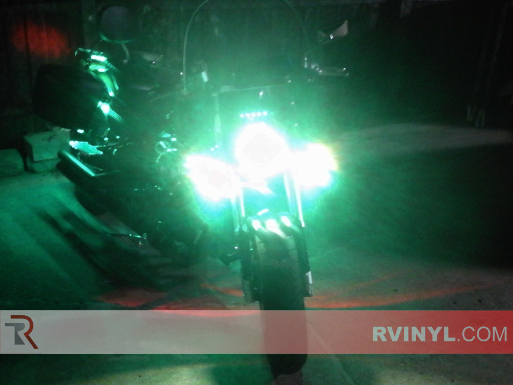Nigh-time Motorcycle Green Smoke Rtint� Headlight Wrap
