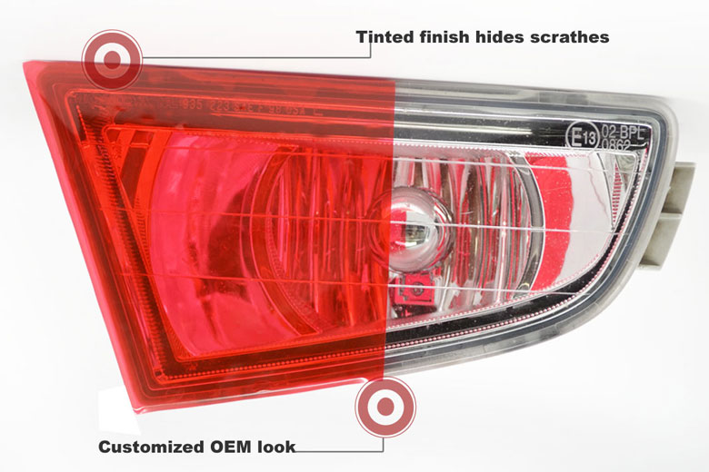 Red Tinted Headlight Film Wraps