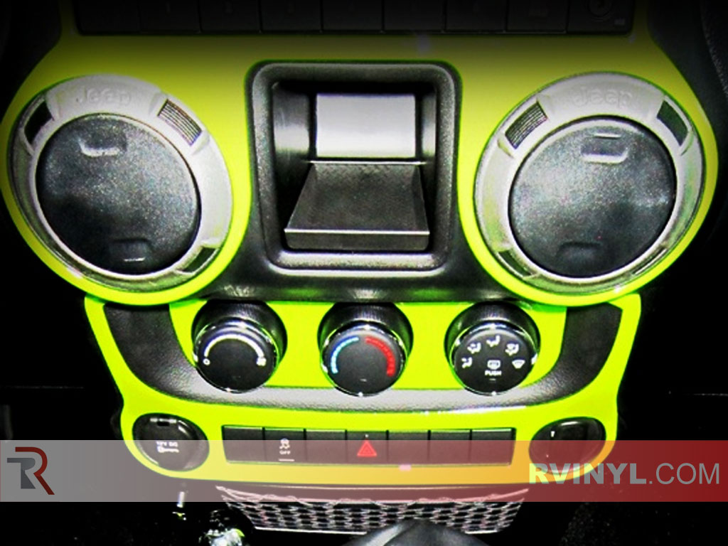 Custom Neon Green Dash Kit Vinyl Wrap