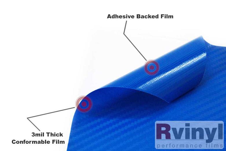 Rwraps Blue 3d Carbon Fiber Vinyl Wrap Car Wrap Film
