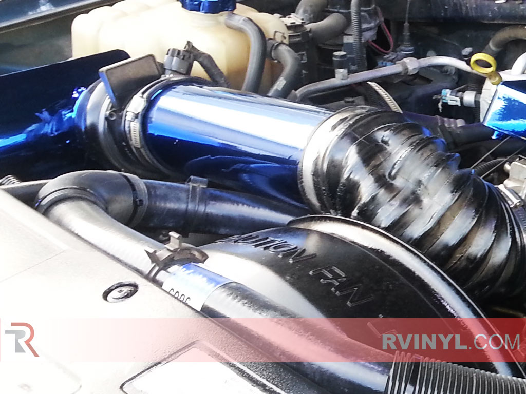 Cold Air Intake Blue Chrome Vinyl Wrap