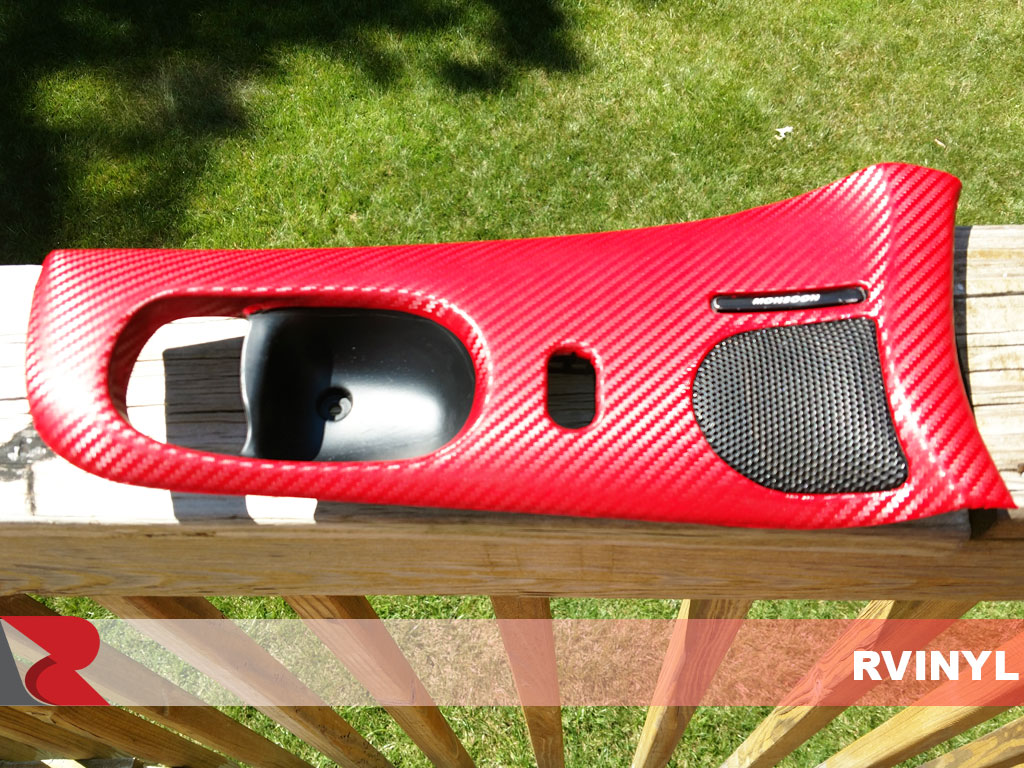 Custom 3D Carbon Fiber Red Dash Kit Vinyl Wrap