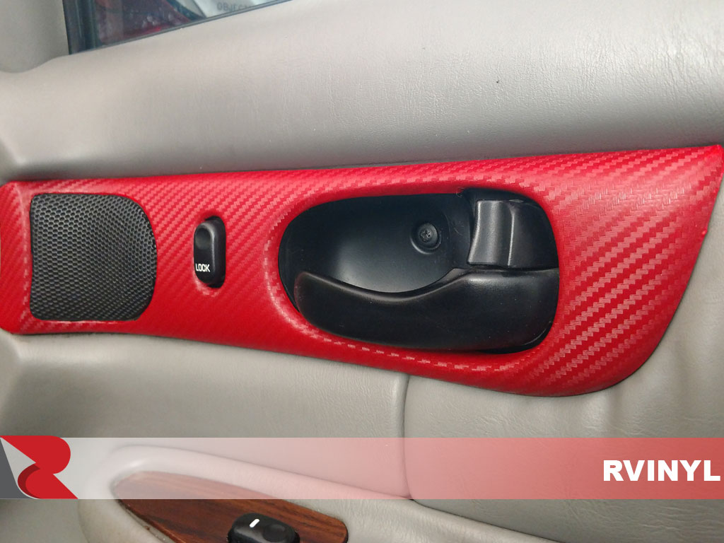 Custom 3D Carbon Fiber Red Dash Kit Vinyl Wrap for rear door