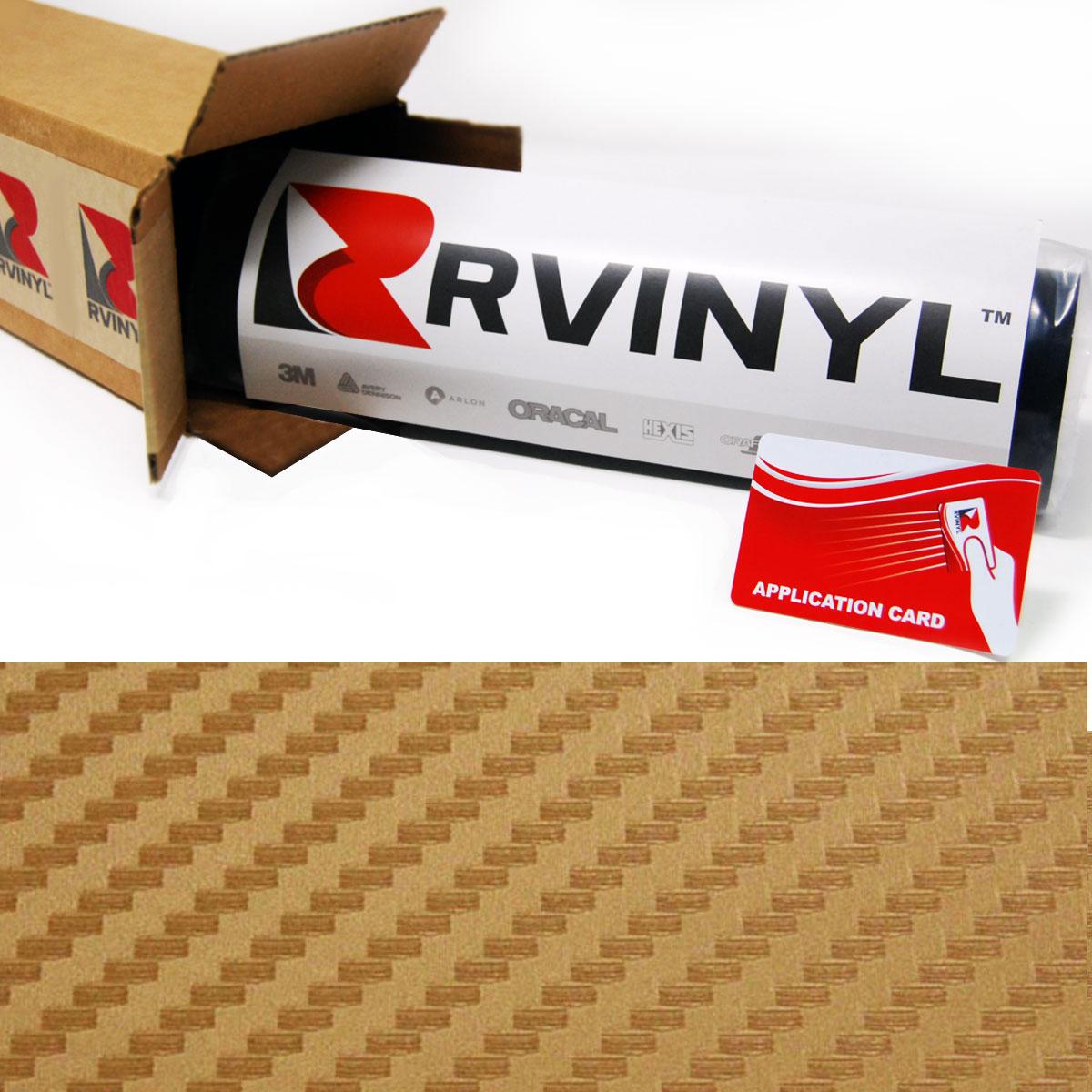 Rwraps™ 3D Carbon Fiber Vinyl Film Wrap - Gold