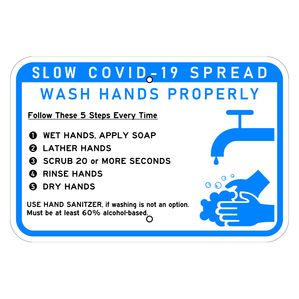Metal COVID-19 Wash Hands Properly Healthcare Sign