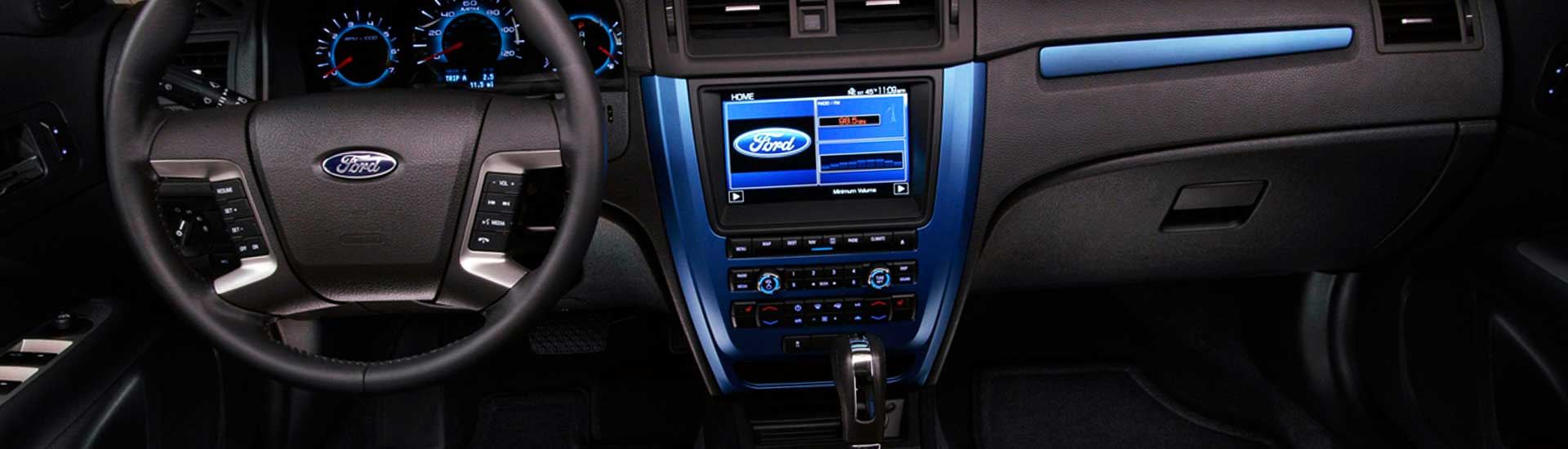 Blue carbon fiber dash kit inside Ford