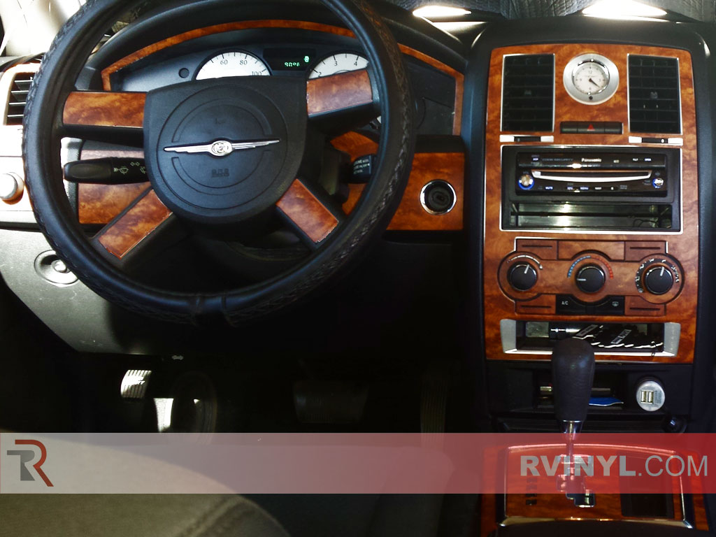 Steering Wheel & Center Console — Dark Burlwood 2008-2010 Chrysler 300 Rdash® Dash Kit